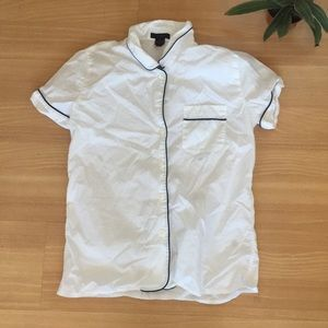 J.crew vintage pajama top white small short sleeve